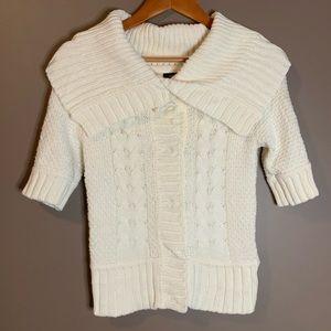 Express button up short sleeve sweater